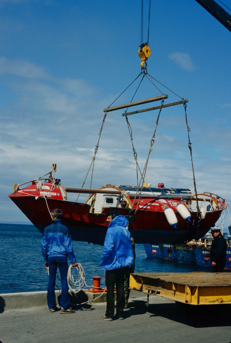 Lowering the Sea Tomato. Mark Eichenberger is holding the rope as Jon Turk looks on